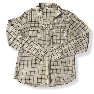 Express The Portofino Shirt V Neck Blouse Check